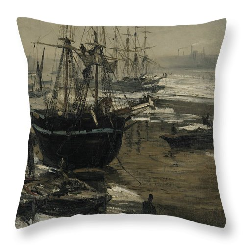 19th Century American Painters Throw Pillow featuring the painting The Thames In Ice by James Abbott McNeill Whistler