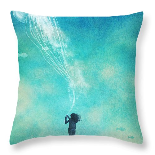 Jellyfish Throw Pillow featuring the drawing The Thing About Jellyfish by Eric Fan