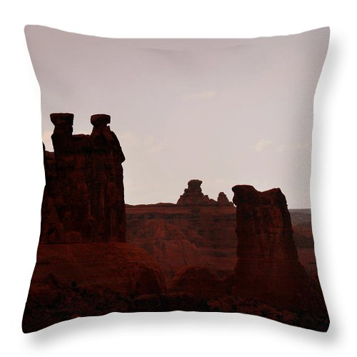 Landscape Throw Pillow featuring the photograph The Three Gossips Arches National Park Utah by Christine Till