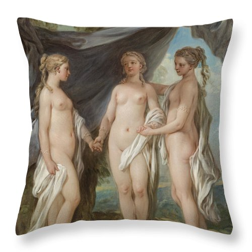 The Three Graces Throw Pillow featuring the painting The Three Graces by Charles-Amedee-Philippe van Loo