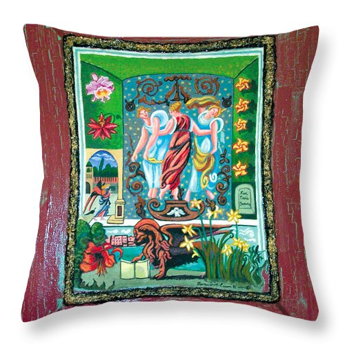 Women Throw Pillow featuring the painting The Three Sisters by Genevieve Esson