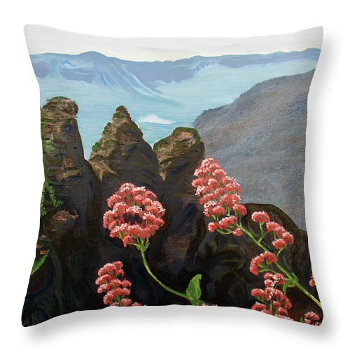Acrylic Painting Throw Pillow featuring the painting The Three Sisters by Tatjana Popovska