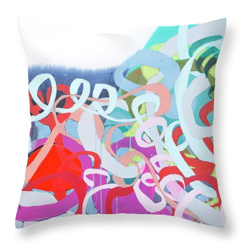 Abstract Throw Pillow featuring the painting The Thrill Of It All by Claire Desjardins