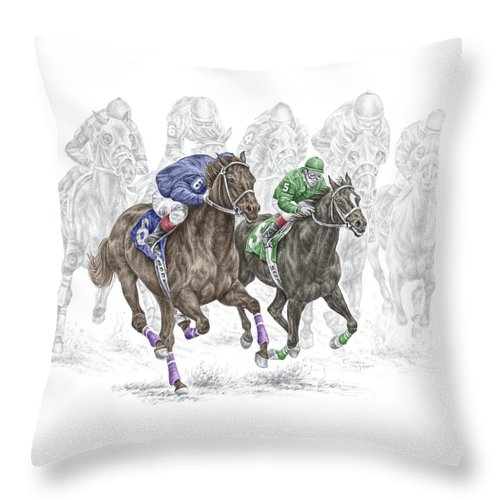 Tb Throw Pillow featuring the drawing The Thunder Of Hooves - Horse Racing Print Color by Kelli Swan