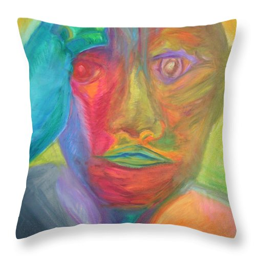 Throw Pillow featuring the pastel The Time Rider by Sitara Bruns
