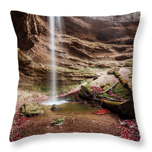 Autumn Throw Pillow featuring the photograph The Tiny Waterfall by Hannes Cmarits