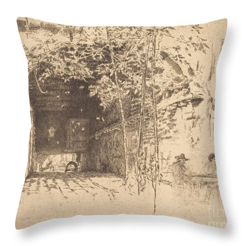 Throw Pillow featuring the drawing The Traghetto, No.ii by James Mcneill Whistler