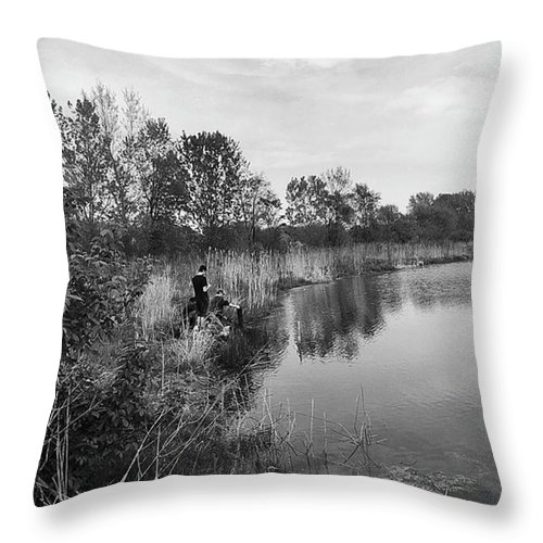 Water Throw Pillow featuring the photograph Moving the Water by Frank J Casella