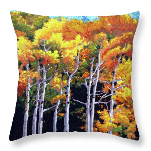 Aspens Throw Pillow featuring the painting The Transition by John Lautermilch