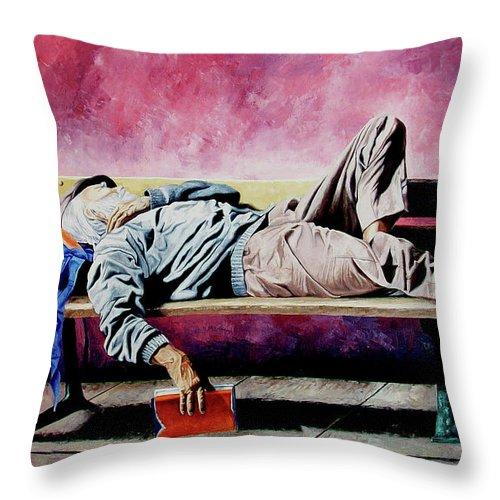 Figurative Throw Pillow featuring the painting The Traveler 1 - El Viajero 1 by Rezzan Erguvan-Onal