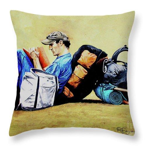 Travel Throw Pillow featuring the painting The Traveler 2 - El Viajero 2 by Rezzan Erguvan-Onal