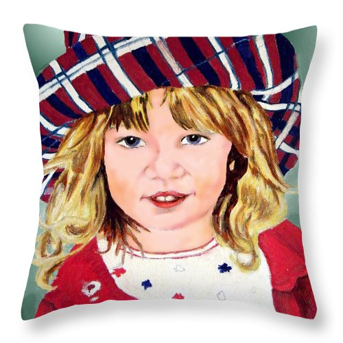 Girl Throw Pillow featuring the painting The Treasured Hat by Dale Jackson