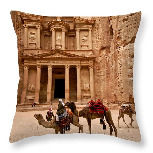 Middle East Throw Pillow featuring the photograph The Treasury Of Petra by Michele Burgess