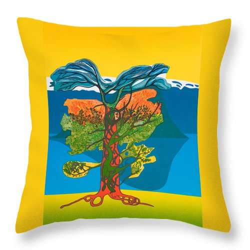Landscape Throw Pillow featuring the mixed media The Tree Of Life. From The Viking Saga. by Jarle Rosseland