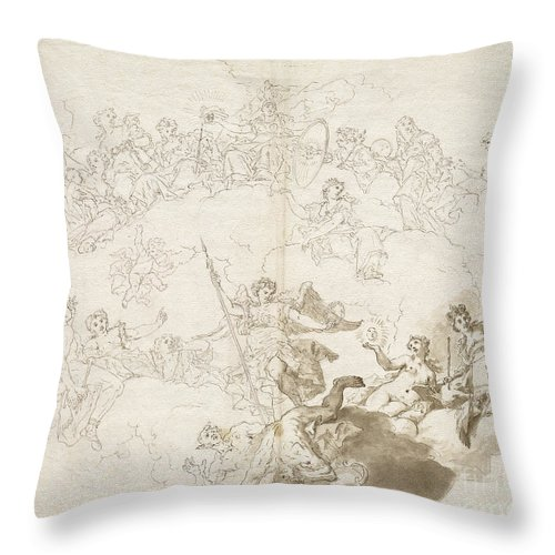 Throw Pillow featuring the drawing The Triumph Of Virtue And Divine Wisdom by Livio Retti