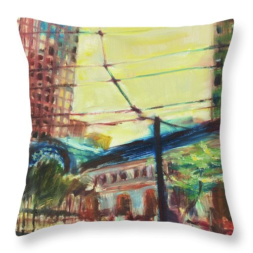 Dornberg Throw Pillow featuring the painting The Trolley Line by Bob Dornberg