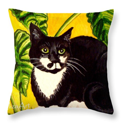 Watercolor Throw Pillow featuring the painting The Tropical Cat by Elizabeth Robinette Tyndall