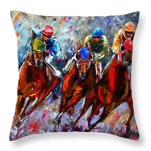 Horses Throw Pillow featuring the painting The Turn 2 by Debra Hurd