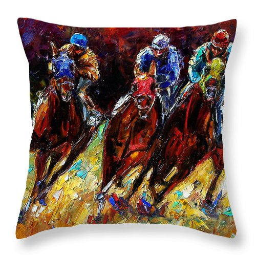 Horses Paintings Throw Pillow featuring the painting The Turn by Debra Hurd