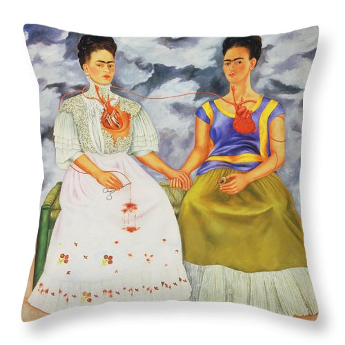 Frida Kahlo Throw Pillow featuring the painting The Two Fridas by Frida Kahlo