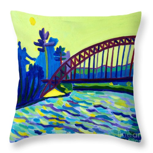 Water Throw Pillow featuring the painting The Tyngsborough Bridge by Debra Bretton Robinson