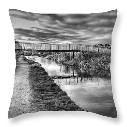 Canal Throw Pillow featuring the photograph The Unfortunately Named Cat Gallows by John Edwards