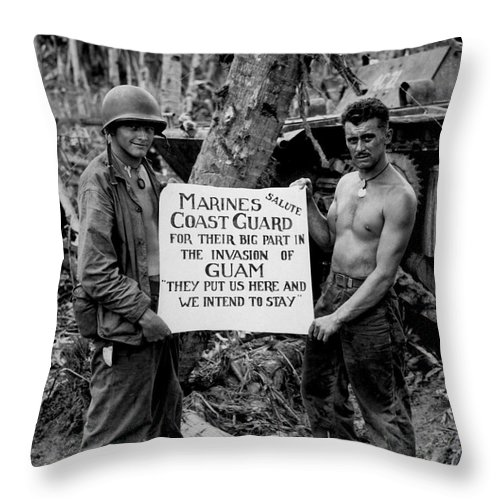 Vertical Throw Pillow featuring the photograph The U.s. Marines Salute The U.s. Coast by Stocktrek Images