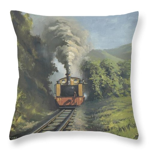 Steam Throw Pillow featuring the painting The Vale Of Rheidol Railway by Richard Picton