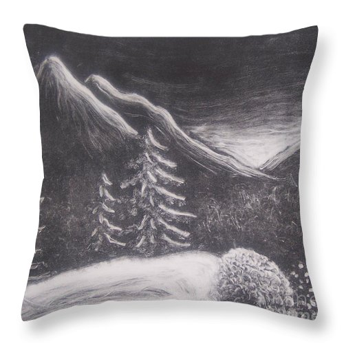 Landscape Throw Pillow featuring the painting The Valley by Emily Young