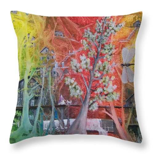 Tree Throw Pillow featuring the painting The Valley Of The Cotton Tree by Jackie Mueller-Jones