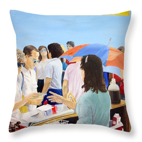 People Throw Pillow featuring the painting The Vendor by Steve Karol