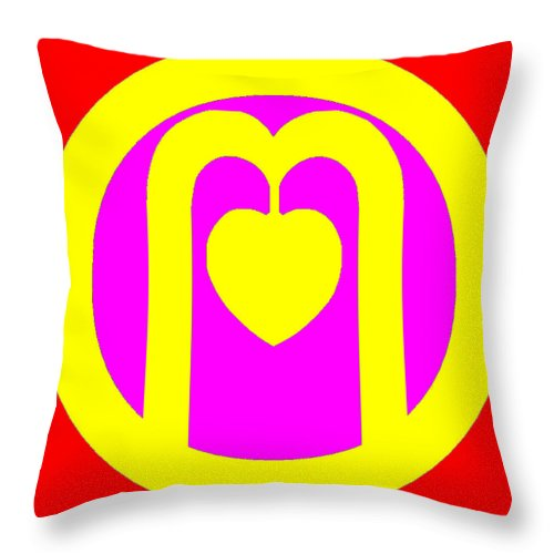 Square Throw Pillow featuring the digital art The Very Secret Sacred Heart Of Om by Eikoni Images
