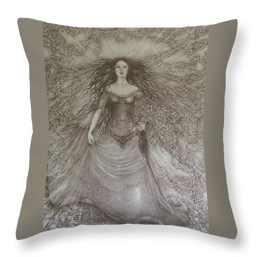 Spring Throw Pillow featuring the drawing Victory Of Spring by Rita Fetisov