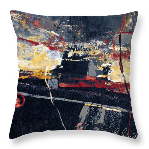 Abstract Throw Pillow featuring the painting The View by Ruth Palmer