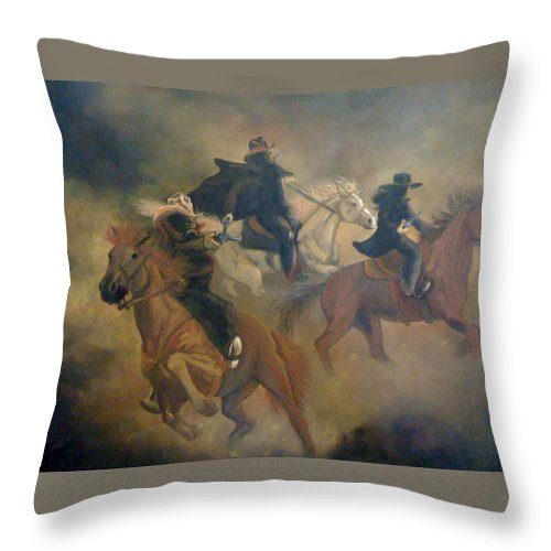 Wild West Throw Pillow featuring the painting The Vigilantes by Patti Lane
