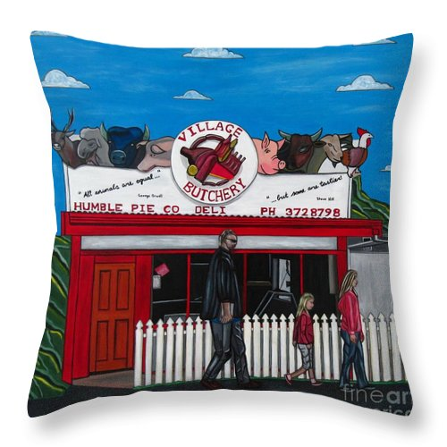 Buildings Throw Pillow featuring the painting The Village by Sandra Marie Adams