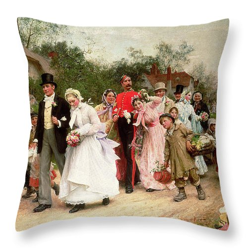 Portrait; Group Throw Pillow featuring the painting The Village Wedding by Sir Samuel Luke Fildes