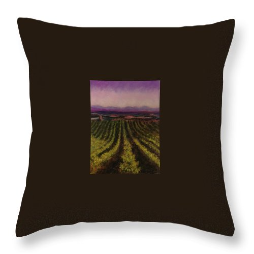 Landscape Throw Pillow featuring the pastel The Vineyard by Pat Snook