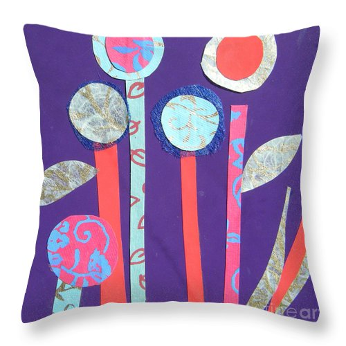 Flowers Throw Pillow featuring the mixed media The Violet Hour by Debra Bretton Robinson