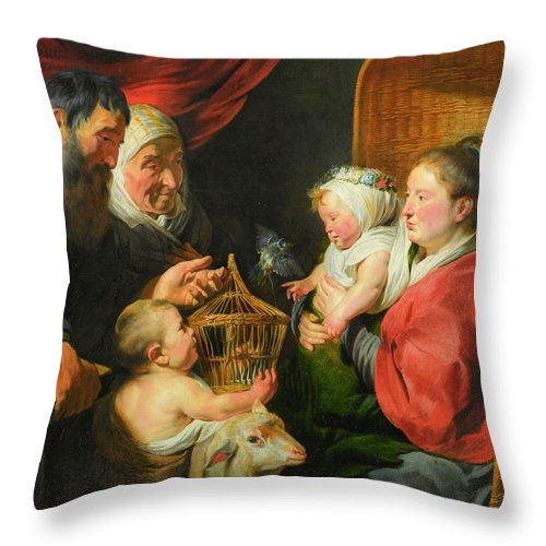 Jacob (jacques) Jordaens Throw Pillow featuring the painting The Virgin And Child With St. John And His Parents by Jacob Jordaens