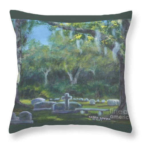 Landscape Cemetary Ghost Tree Florida Orlando Greenwood Throw Pillow featuring the painting The Visitor 75usd by Karen Bowden