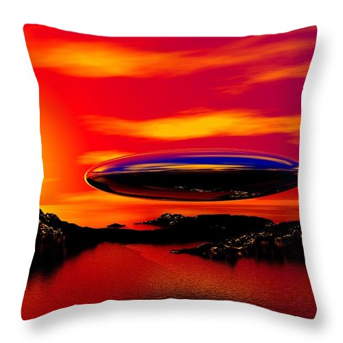 T Throw Pillow featuring the digital art The Visitor by David Lane