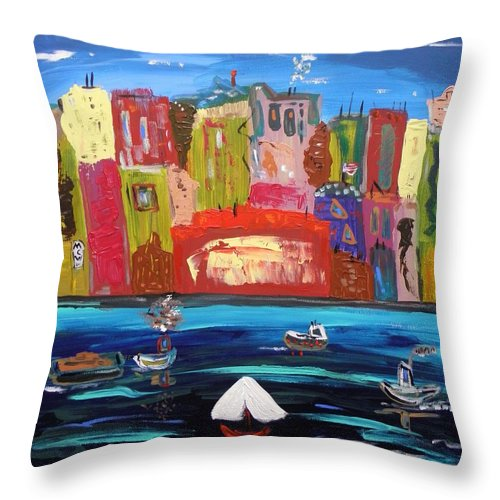 Urban Throw Pillow featuring the painting The Vista Of The City by Mary Carol Williams