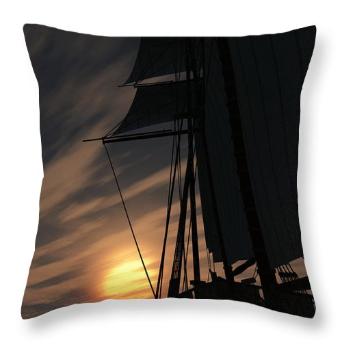 Ships Throw Pillow featuring the digital art The Voyage Home by Richard Rizzo