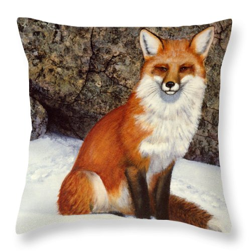 Wildlife Throw Pillow featuring the painting The Wait Red Fox by Frank Wilson