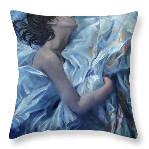 Ignatenko Throw Pillow featuring the painting The waiting for the spring by Sergey Ignatenko