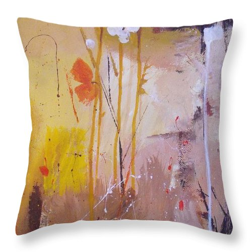 Abstract Throw Pillow featuring the painting The Wallflowers by Ruth Palmer