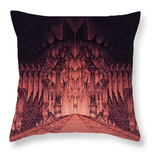 Barad Dur Throw Pillow featuring the drawing The Walls Of Barad Dur by Curtiss Shaffer