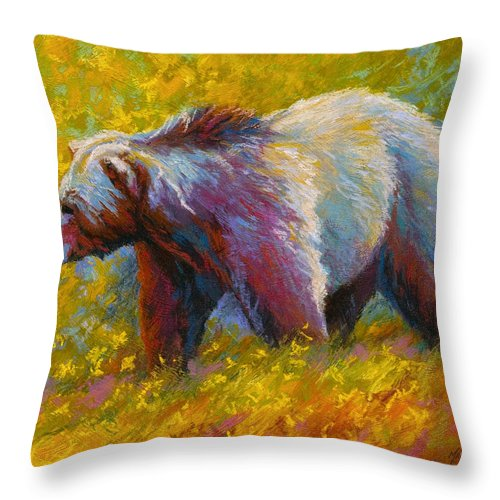 Western Throw Pillow featuring the painting The Wandering One - Grizzly Bear by Marion Rose