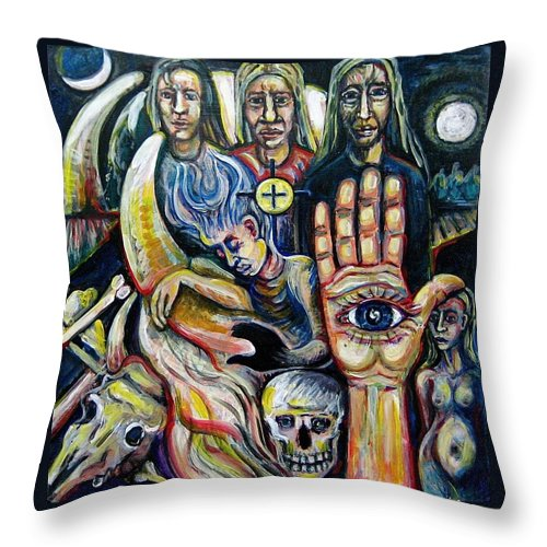 Dreamscape Throw Pillow featuring the painting The Watchers by Stephen Hawks